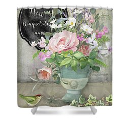 Shower Curtain featuring the painting Marche Aux Fleurs 3 Peony Tulips Sweet Peas Lavender And Bird by Audrey Jeanne Roberts