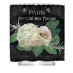 Shower Curtain featuring the painting Marche Aux Fleurs 4 Vintage Style Typography Art by Audrey Jeanne Roberts