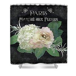 Marche Aux Fleurs 4 Vintage Style Typography Art Shower Curtain by Audrey Jeanne Roberts