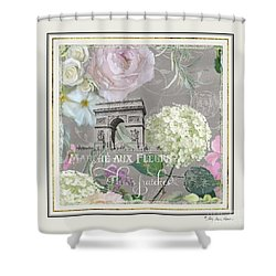 Shower Curtain featuring the painting Marche Aux Fleurs Vintage Paris Arc De Triomphe by Audrey Jeanne Roberts