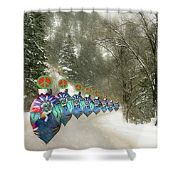 Marching Peace Ornaments Shower Curtain