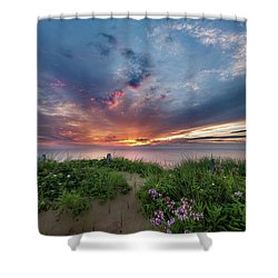 Marconi Station Sunrise Shower Curtain by Bill Wakeley