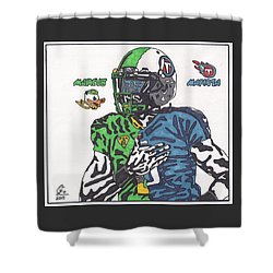 Marcus Mariota Crossover Shower Curtain by Jeremiah Colley