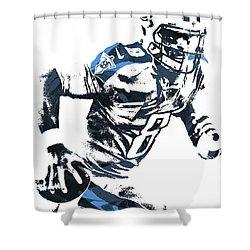 Shower Curtain featuring the mixed media Marcus Mariota Tennesse Titans Pixel Art 2 by Joe Hamilton