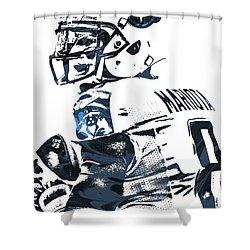 Shower Curtain featuring the mixed media Marcus Mariota Tennessee Titans Pixel Art by Joe Hamilton