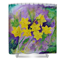 Mardi Gras Daffodils Shower Curtain by Margaret Bobb