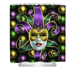 Mardi Gras Mask And Beads Shower Curtain by Gary Crockett