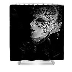 Mardi Gras Mask  B-w Shower Curtain by Christopher Holmes