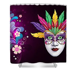 Shower Curtain featuring the photograph Mardi Gras Mask On Floral Background by Gary Crockett