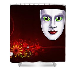 Mardi Gras Mask Red Vines Shower Curtain by Gary Crockett