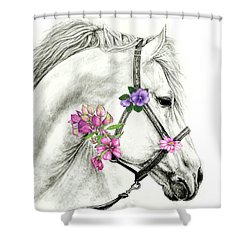 Mare With Flowers Shower Curtain by Heidi Kriel