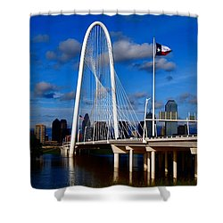 Shower Curtain featuring the photograph Margaret Hunt Hill Bridge Dallas Flood by Kathy Churchman