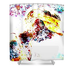 Maria Sharapova Paint Splatter 4p                 Shower Curtain by Brian Reaves