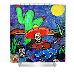 Mariachi Siesta Shower Curtain by Pristine Cartera Turkus