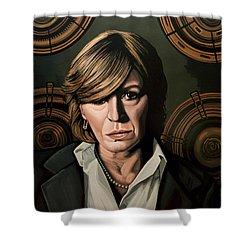 Marianne Faithfull Painting Shower Curtain by Paul Meijering
