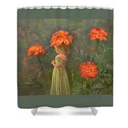 Shower Curtain featuring the painting Marigold Flower Fairy by Nancy Lee Moran