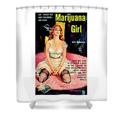 Shower Curtain featuring the painting Marijuana Girl by Santos