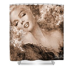 Marilyn Cherry Blossoms, Sepia Shower Curtain