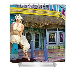 Marilyn Monroe In Front Of Tropic Theatre In Key West Shower Curtain by David Smith