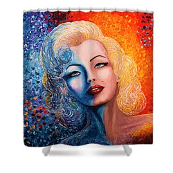 Shower Curtain featuring the painting Marilyn Monroe Original Acrylic Palette Knife Painting by Georgeta Blanaru