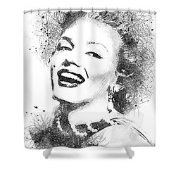 Marilyn Monroe Scribbles Portrait Shower Curtain