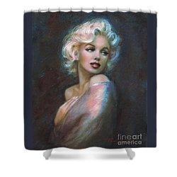 Marilyn Romantic Ww Dark Blue Shower Curtain