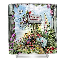 Marilyn's Greenhouse Shower Curtain