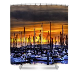 Marina At Sunset Shower Curtain