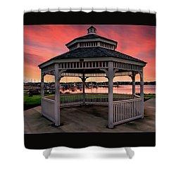 Marina Gazebo Sunset Shower Curtain by Rick Lawler