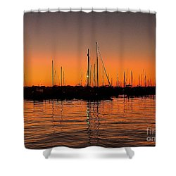 Marina Moonlight Masts Shower Curtain