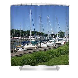 Marina On Black River Shower Curtain