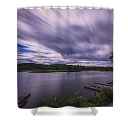 Shower Curtain featuring the photograph Marina Sky by Tom Singleton