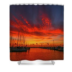 Marina Sunrise - Ft. Pierce Shower Curtain