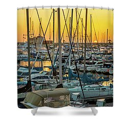Shower Curtain featuring the photograph Marina Sunset by April Reppucci