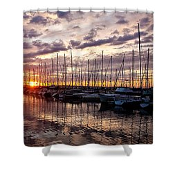 Marina Sunset Shower Curtain by Mike Reid