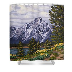 Shower Curtain featuring the painting Marina's Edge, Jenny Lake, Grand Tetons by Erin Fickert-Rowland