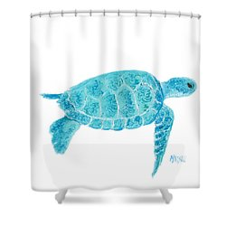 Marine Turtle Painting On White Shower Curtain