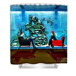 Marinelife Observing Couple Sitting In Chairs Shower Curtain