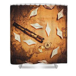 Maritime Origami Ships On Antique Map Shower Curtain