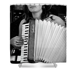 Market Accordion Player Shower Curtain by David Patterson