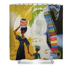 Market Day Shower Curtain by Marilyn Jacobson