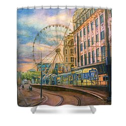 Market Street Metrolink Tramstop With The Manchester Wheel  Shower Curtain