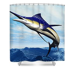 Marlin Jump Shower Curtain by Corey Ford