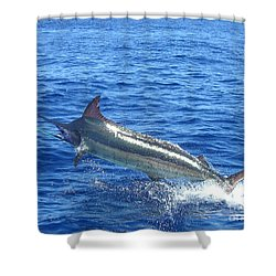 Marlin On The Line Shower Curtain