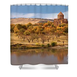 Marmashen Monastery Reflected On Lake At Autumn, Armenia Shower Curtain