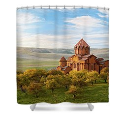 Marmashen Monastery Surrounded By Yellow Trees At Autumn, Armeni Shower Curtain