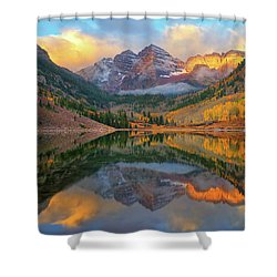 Maroon Bells Autumn Reflections Shower Curtain