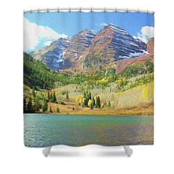 Shower Curtain featuring the photograph The Maroon Bells Reimagined 2 by Eric Glaser