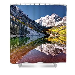 Olena Art Sunrise At Maroon Bells Lake Autumn Aspen Trees In The Rocky Mountains Near Aspen Colorado Shower Curtain