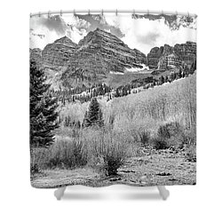 Shower Curtain featuring the photograph Maroon Bells Monochrome by Eric Glaser